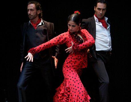 Three very passionate flamenco dancers