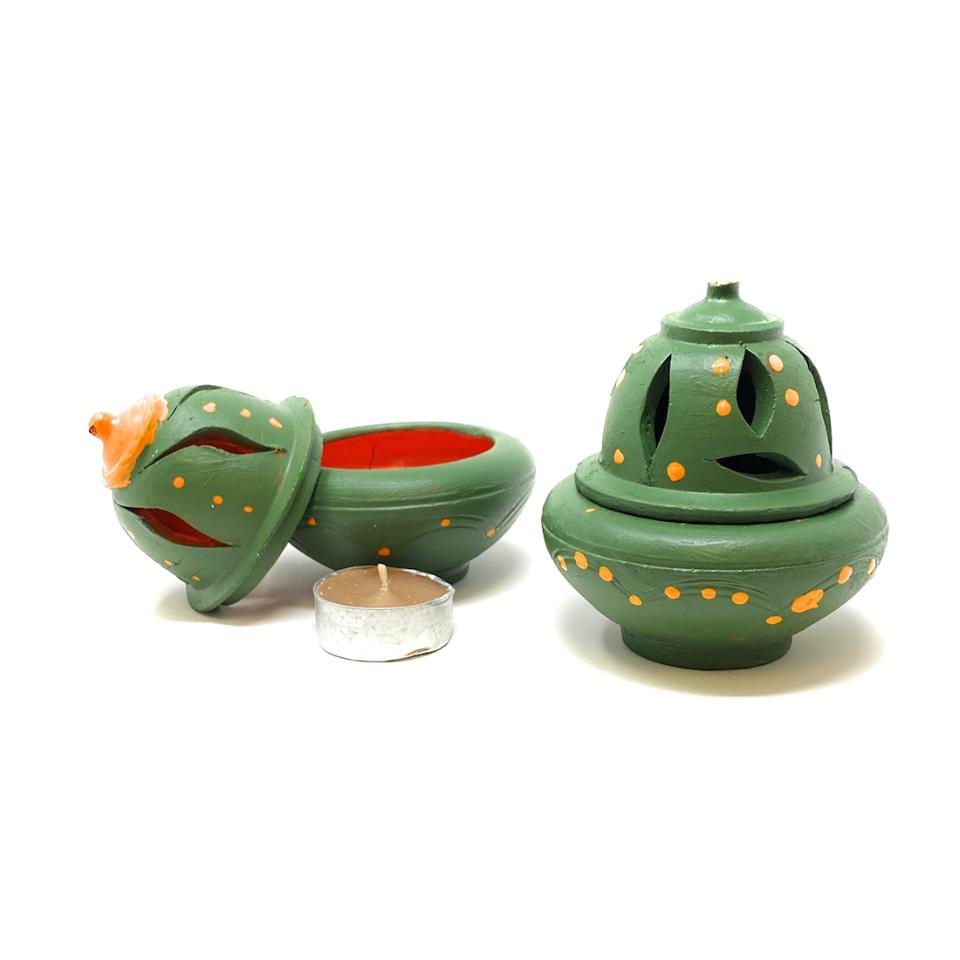 sage green tea light candle holder