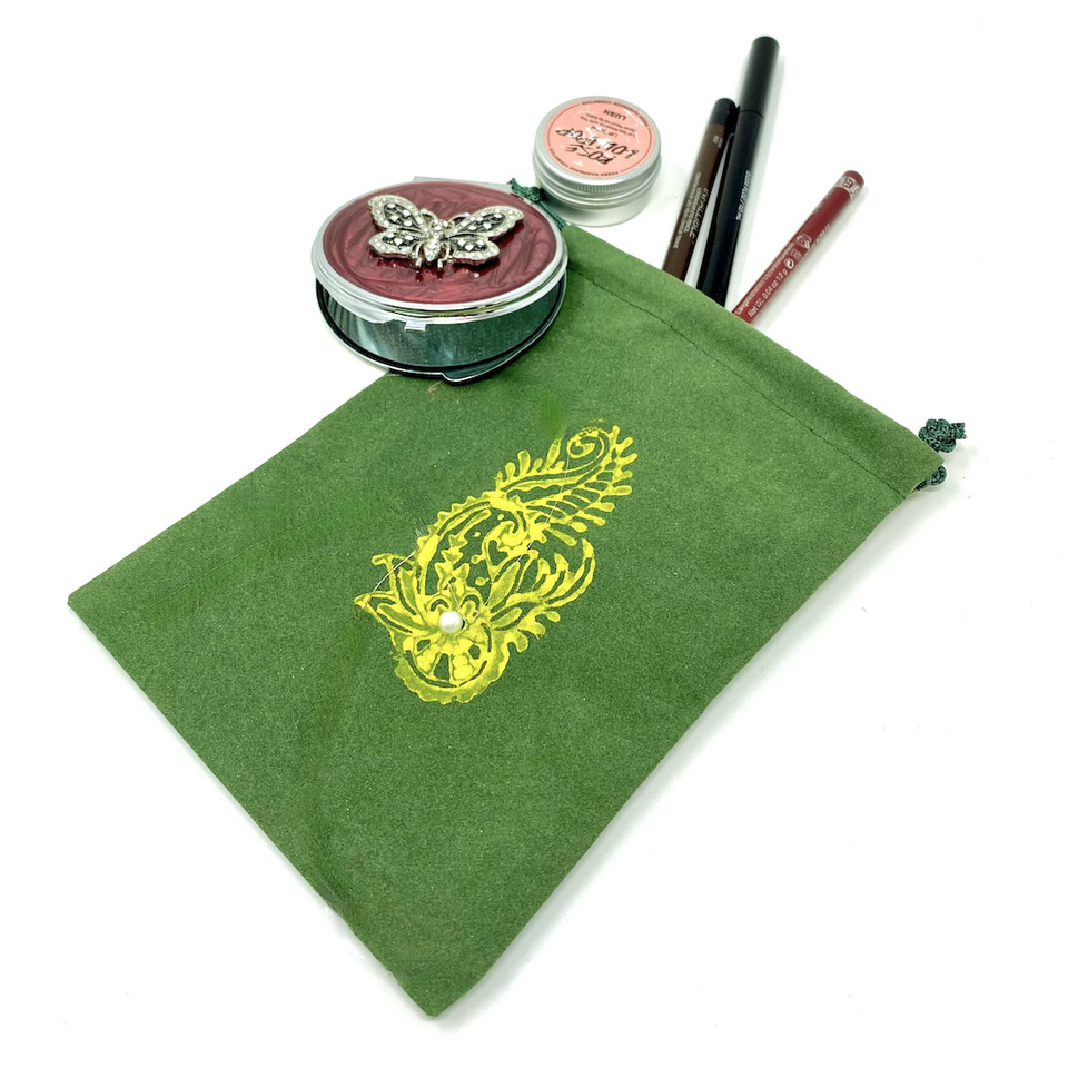 green burlap bag