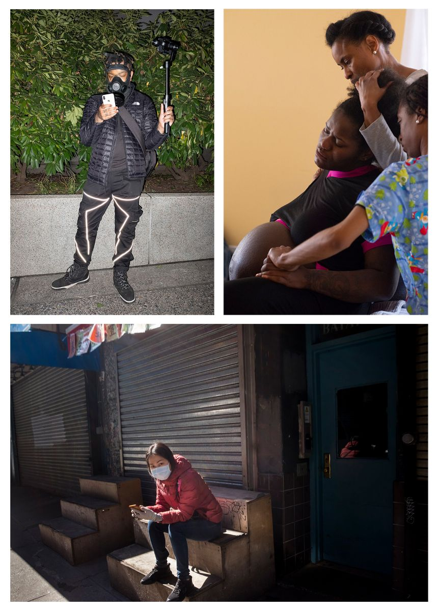 Three images of different perspectives of the election