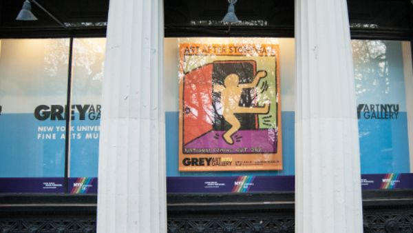 Graphic of cartoon walking out a door in a gallery window behind two pillars