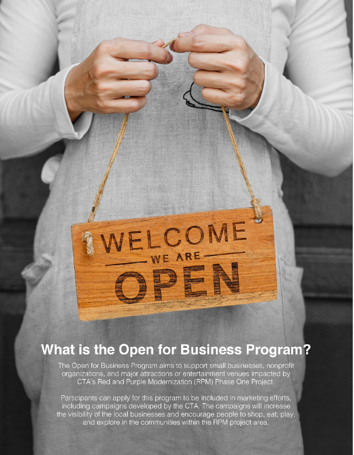 Image of woman holding a business open sign