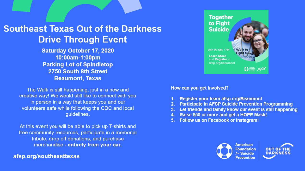 SETX Out of the Darkness Event Flyer