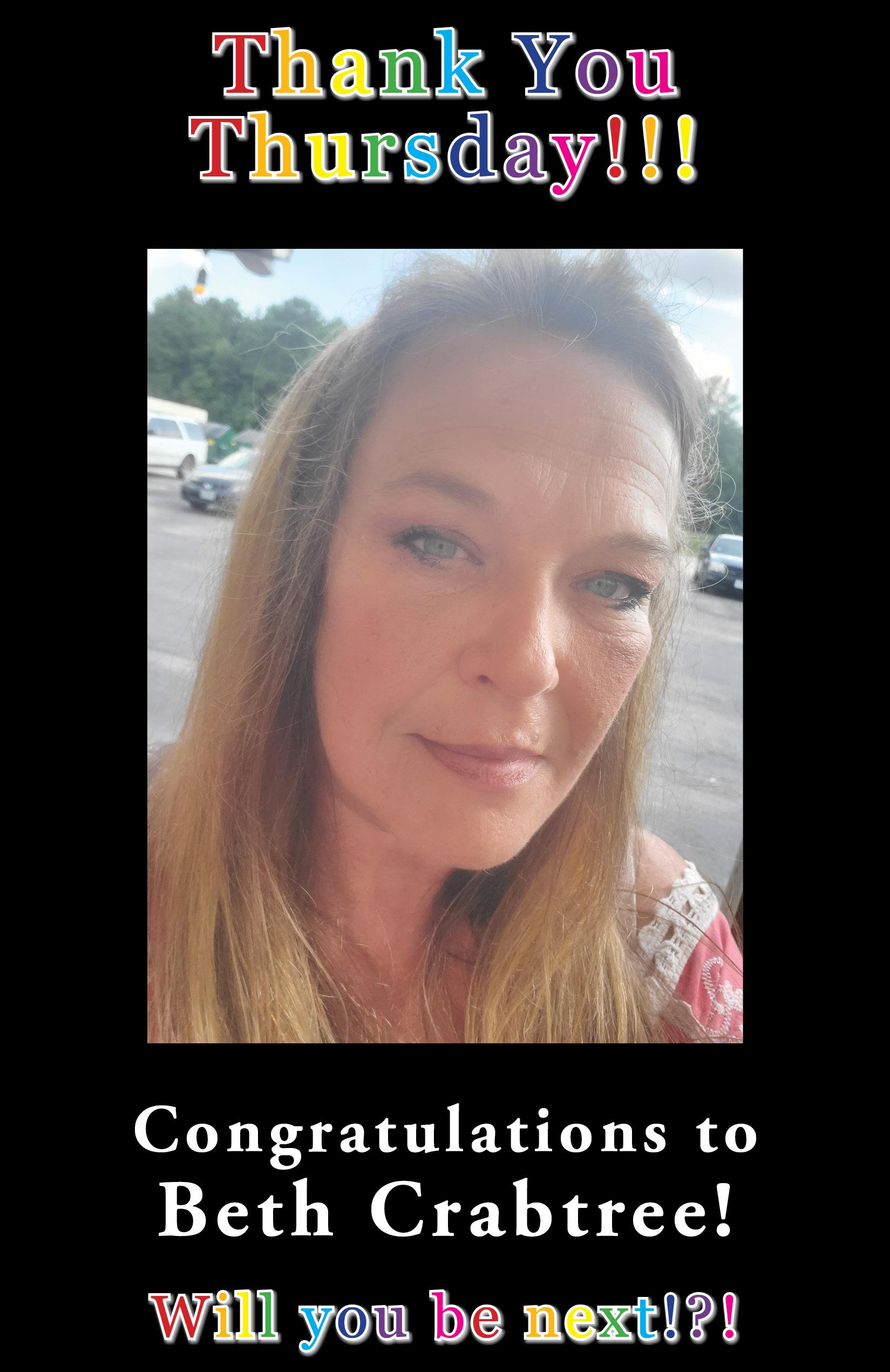 Thank You Thursday recipient Beth Crabtree