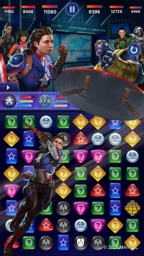 MARVEL Puzzle Quest - Peggy Carter (Do as Peggy Says Ability)