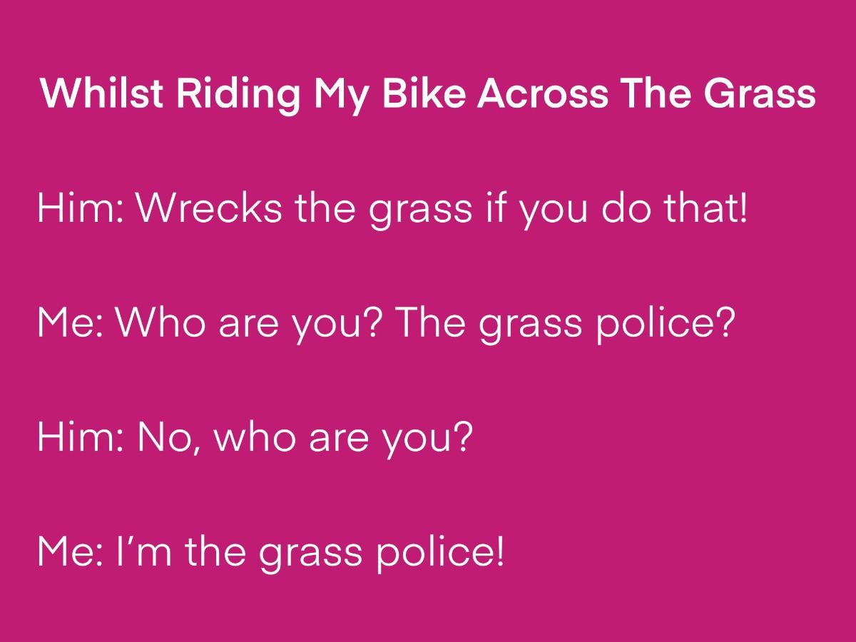 [Whilst Riding My Bike Across The Grass by Daniel Cockrill]