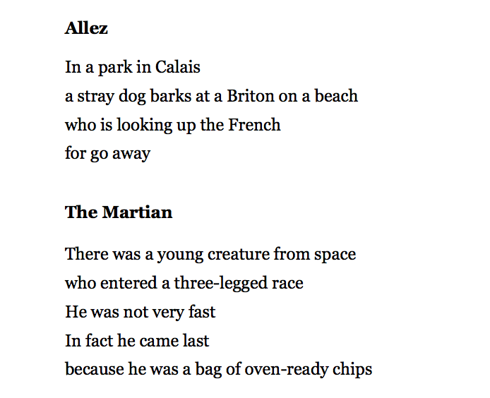 [Allez and The Martian by John Hegley]