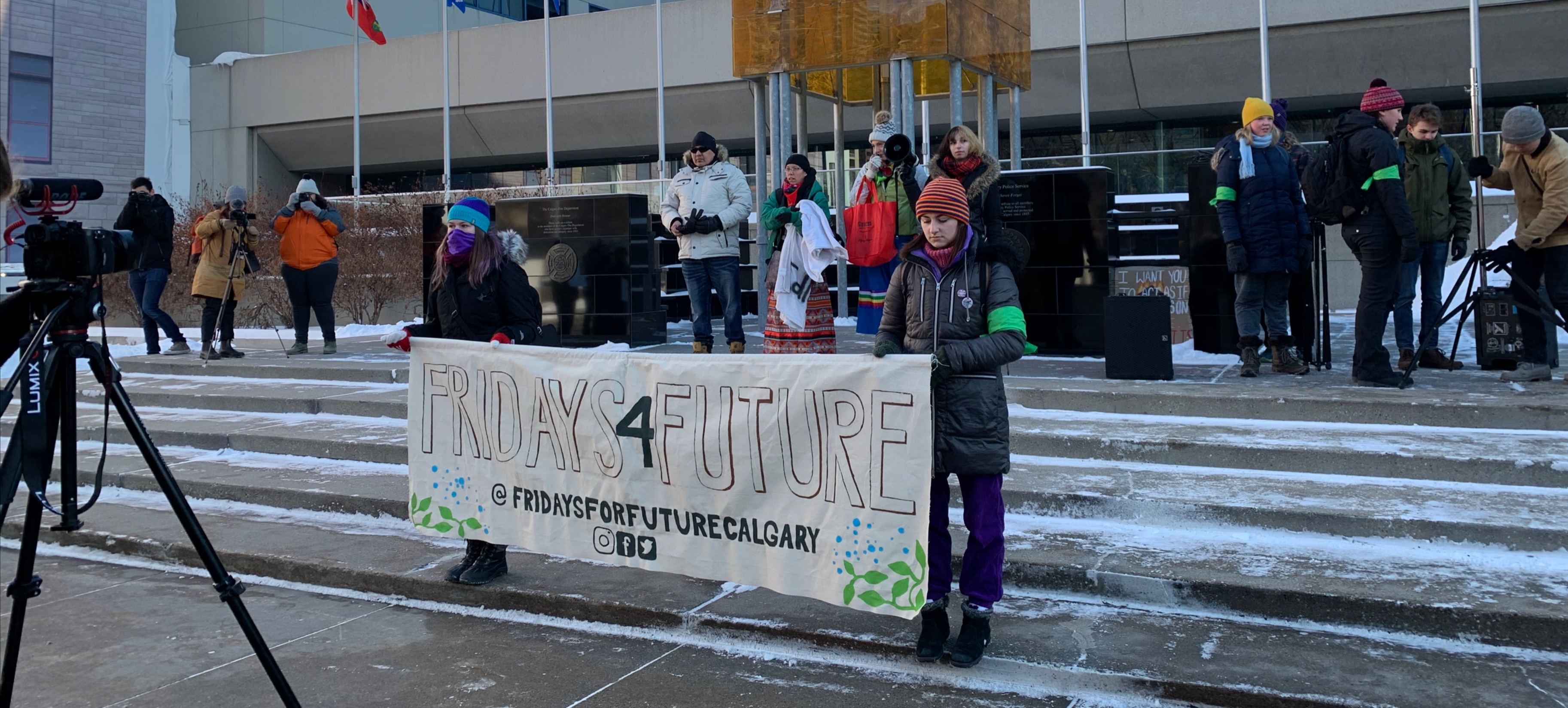 Image of protest, outside Calgary city hall.