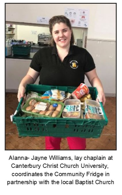 Alanna-Jayne Williams, lay chaplain at Canterbury Christ Church University,  coordinates the Community Fridge in partnership with the local Baptist Church
