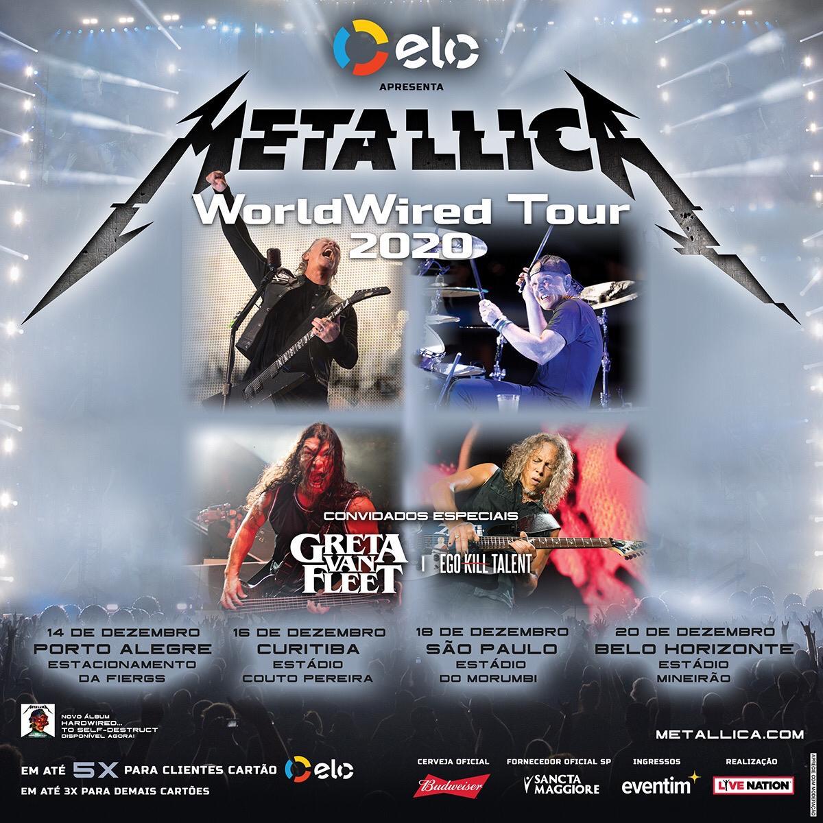 Shows do Metallica são reagendados para Dezembro, Greta Van Fleet e Ego Kill Talent são bandas confirmadas