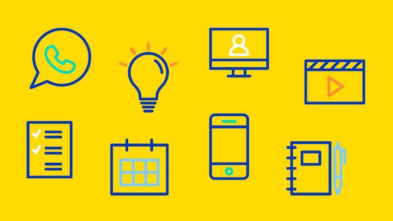 icoontjes met creatieve oplossingen voor onderwijs op afstand
