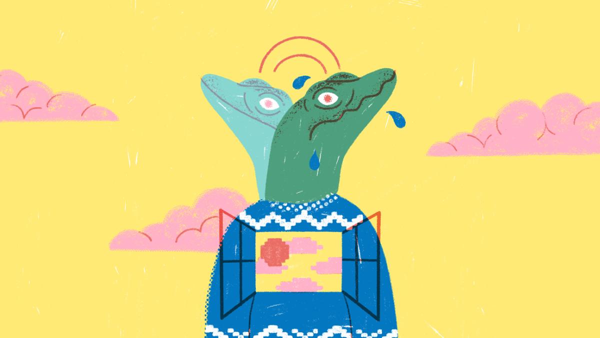 Stress: Illustratie van gestresseerde leerling met reptielenhoofd (reptielenbrein)