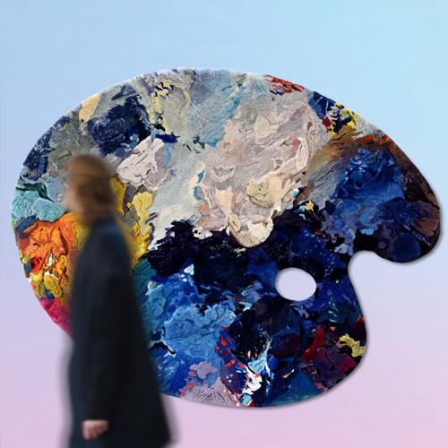 schilderspalet met veel kleuren
