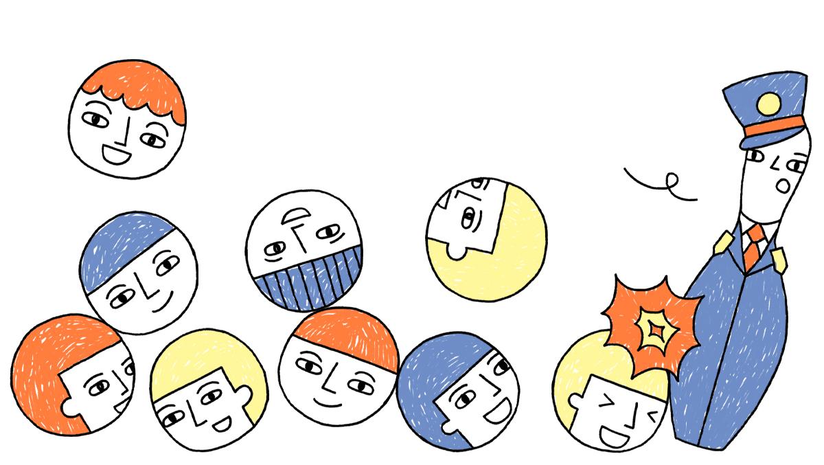 illustratie met leerlingen als bowlingballen die leraar omver rollen