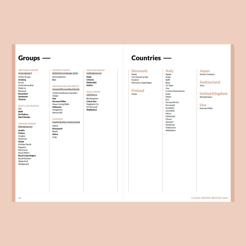 Casum Design Brands contents. Indexes