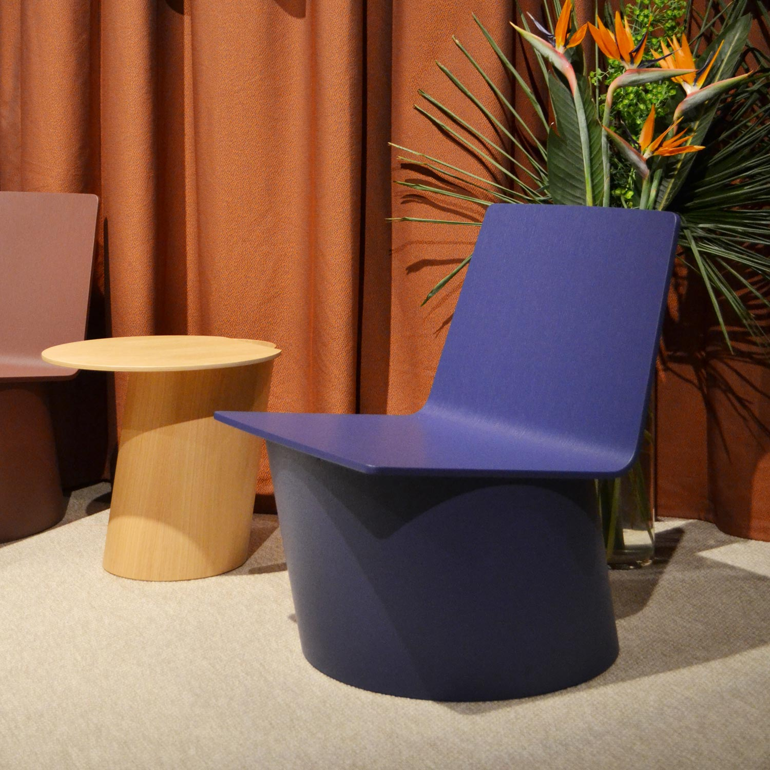 Casum Trends Salone del Mobile 2019. Lounge chairs and side table at Crassevig booth