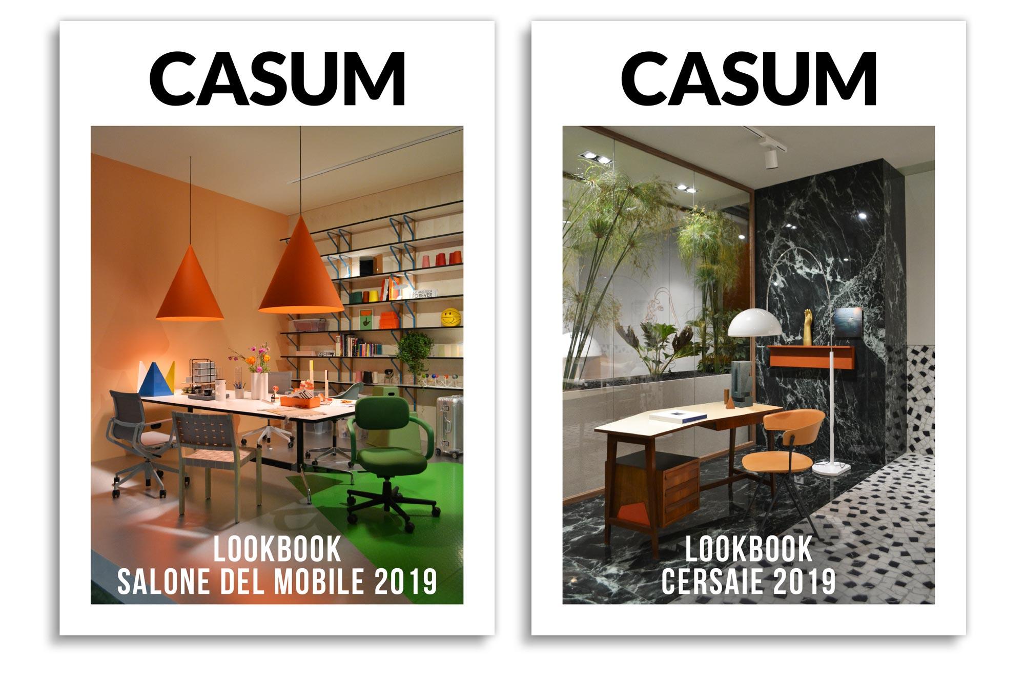 Casum Lookbook Salone del Mobile 2019 and Casum Lookbook Cersaie 2019 covers
