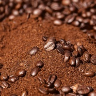coffee beans and grinds
