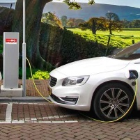 an electric car charging on the street