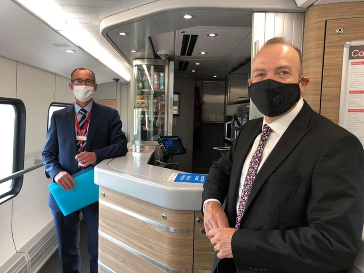 Greater Anglia`s Readiness Director Andrew Goodrum showed Rail Minister Chris Heaton-Harris how the train operator is providing COVID-Secure services
