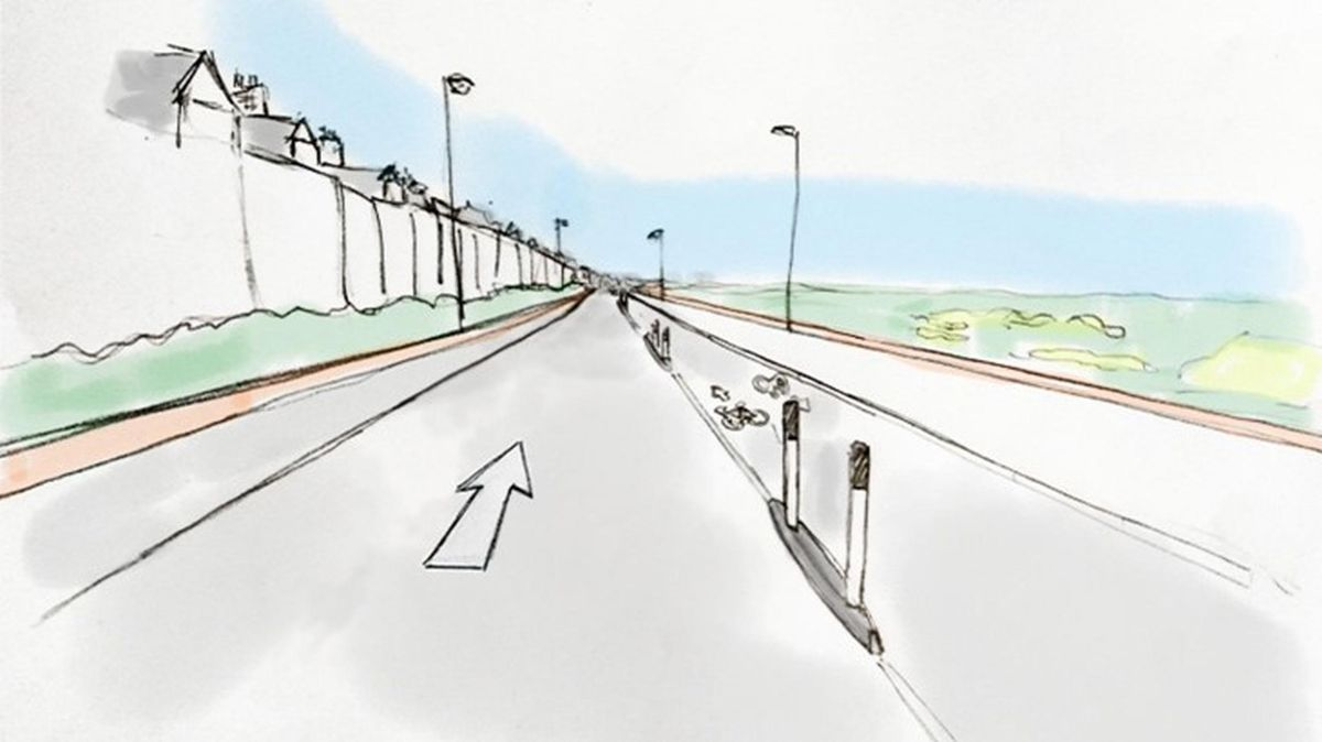 Sustrans` design for the North Tyneside coastal cycleway as it approaches Cullercoats from Tynemouth