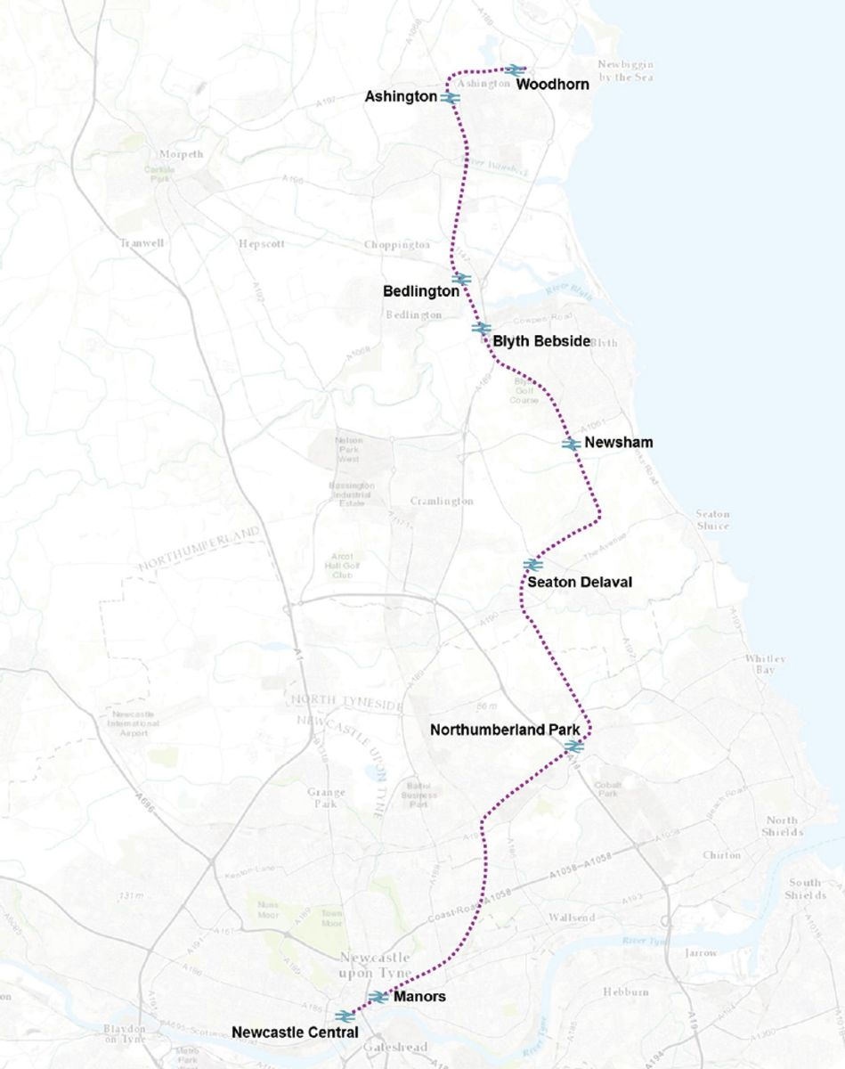 Six stations are proposed on the line. At Northumberland Park passengers will be able to interchange with the Tyne and Wear Metro
