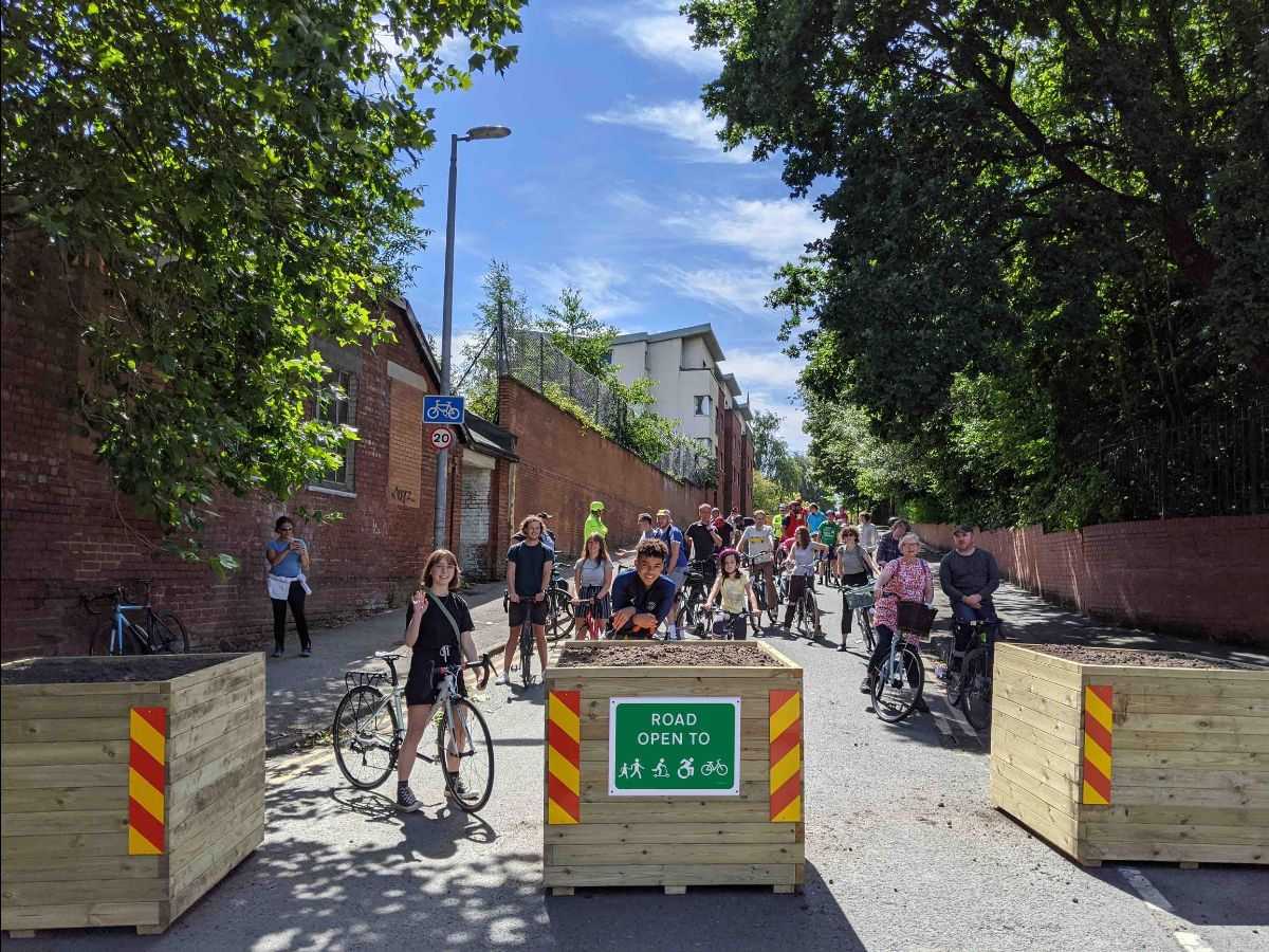 Planters have been installed on North George Street in Salford to stop through traffic