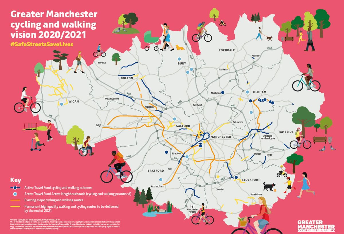 A new map showcasing the Greater Manchester city-region's 12-month priority cycling and walking schemes. This includes the Active Travel Fund walking and cycling routes, as well as the Bee Network routes and active neighbourhoods that will be delivered by December 2021.