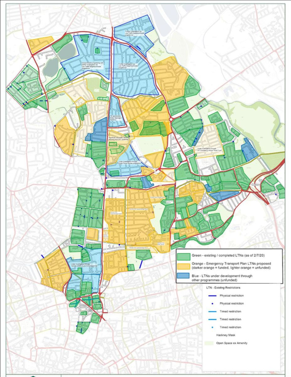 Hackney's low traffic neighbourhoods. Green: implemented, orange/blue: proposed/under development