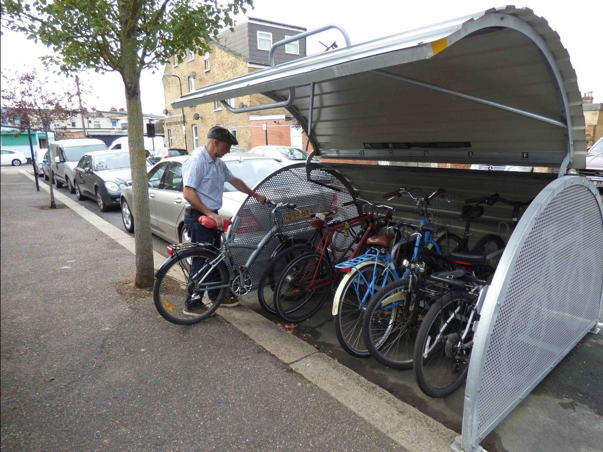 Bikehangars in Waltham Forest have been fitted with `lock shields` to make them more thief resistant. Image: Helen Taylor