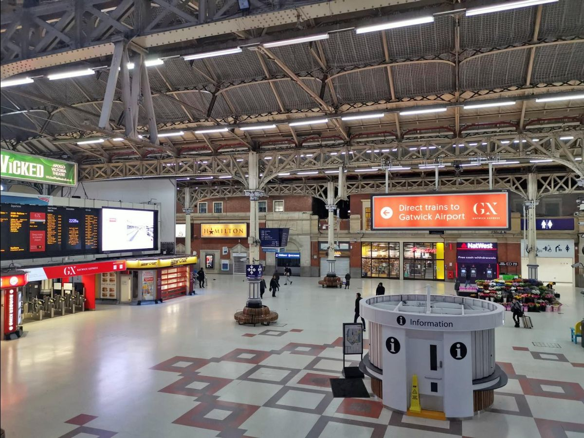 A deserted London Victoria: rail use is about a third of normal