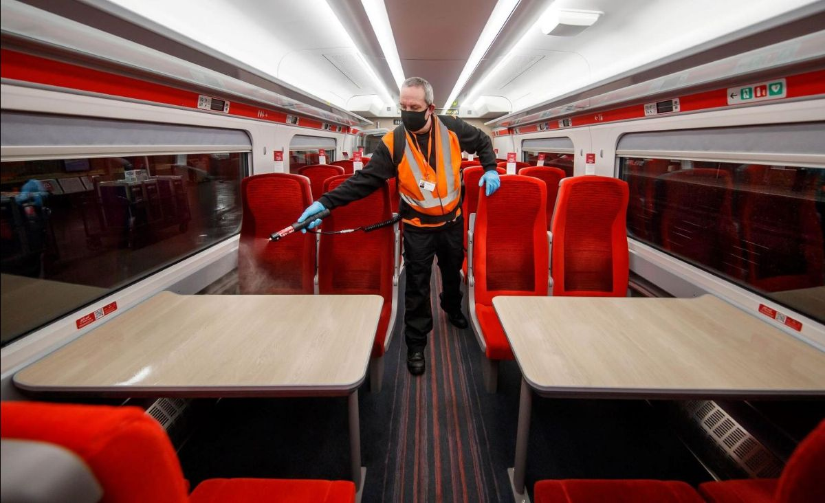 An LNER overnight cleaner at work