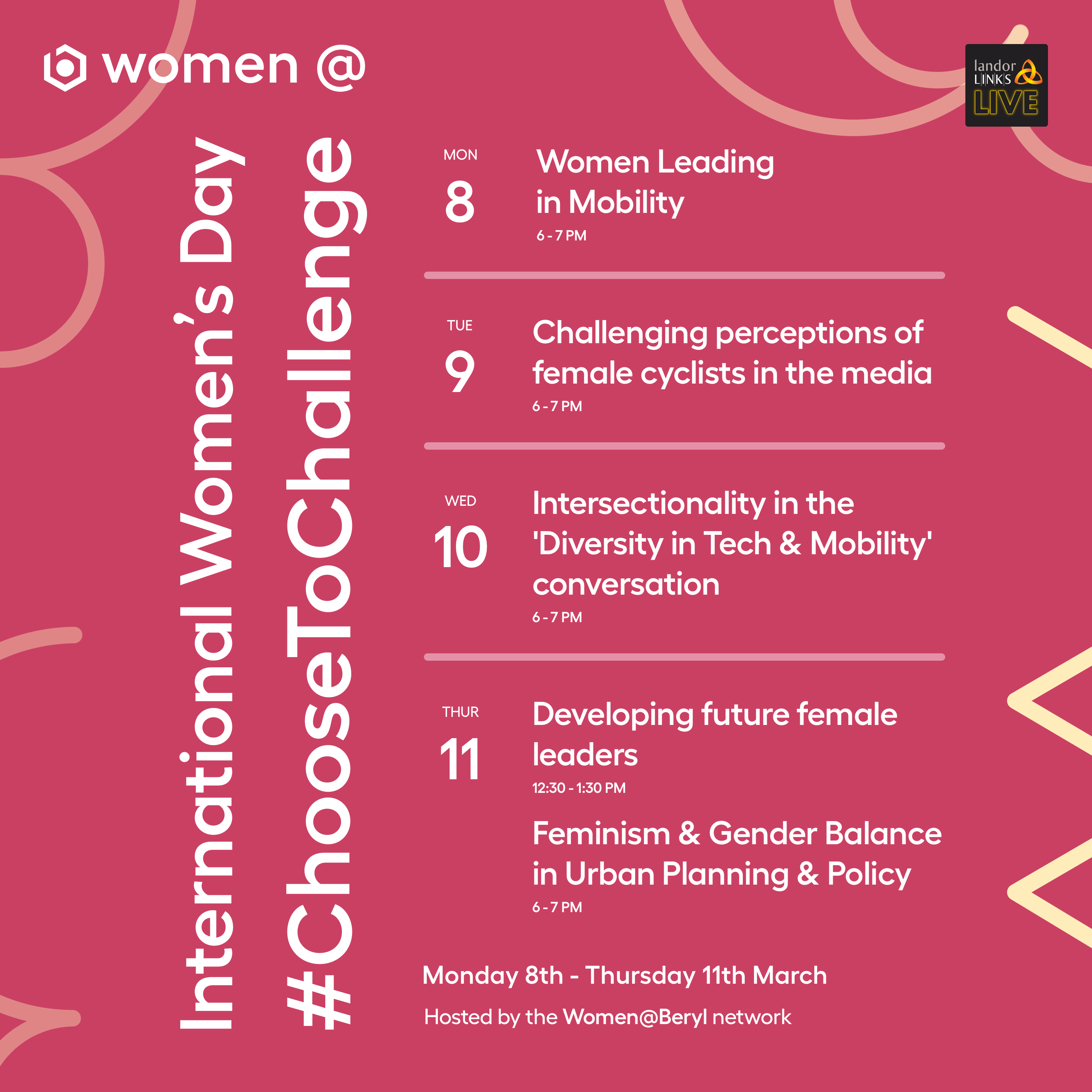 The Women@Beryl network will host its inaugural International Women's Day series to celebrate this year's theme #ChooseToChallenge – raise awareness against bias and take action for equality in cycling and micromobility.