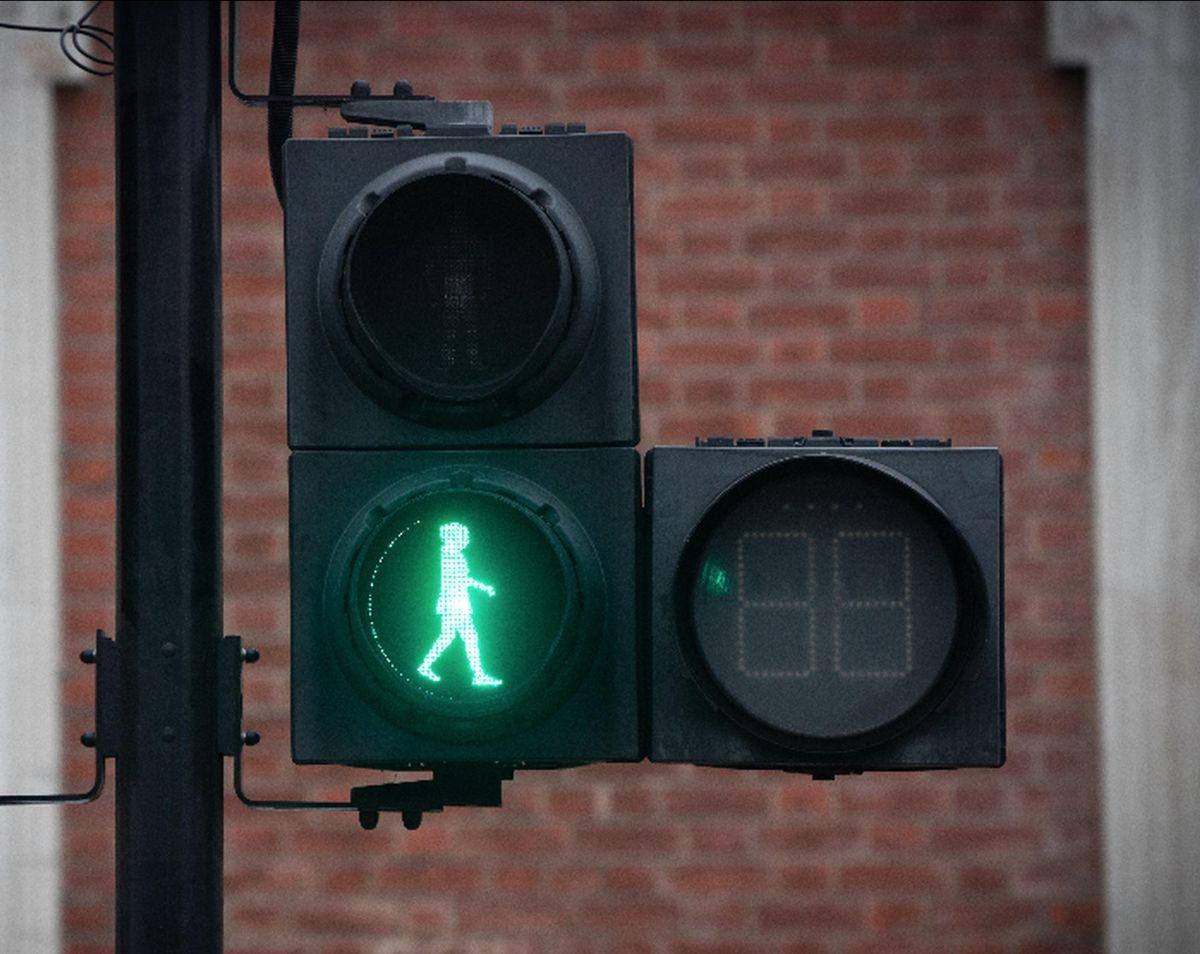 A new green woman traffic light in London
