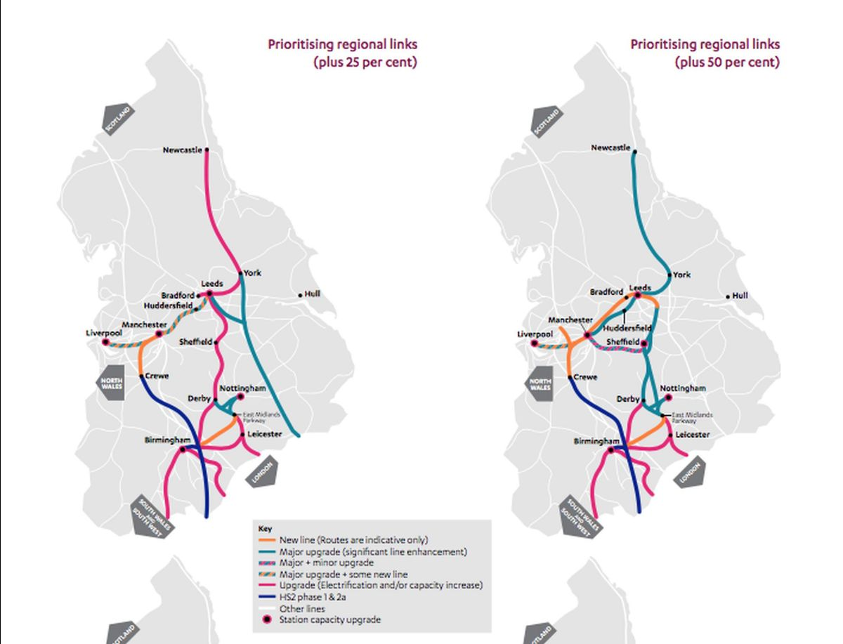 The NIC recommends the 'prioritising regional links' scenario with spending of 25 per cent above baseline (left). The map on the right shows what could be delivered with expenditure 50 per cent above baseline