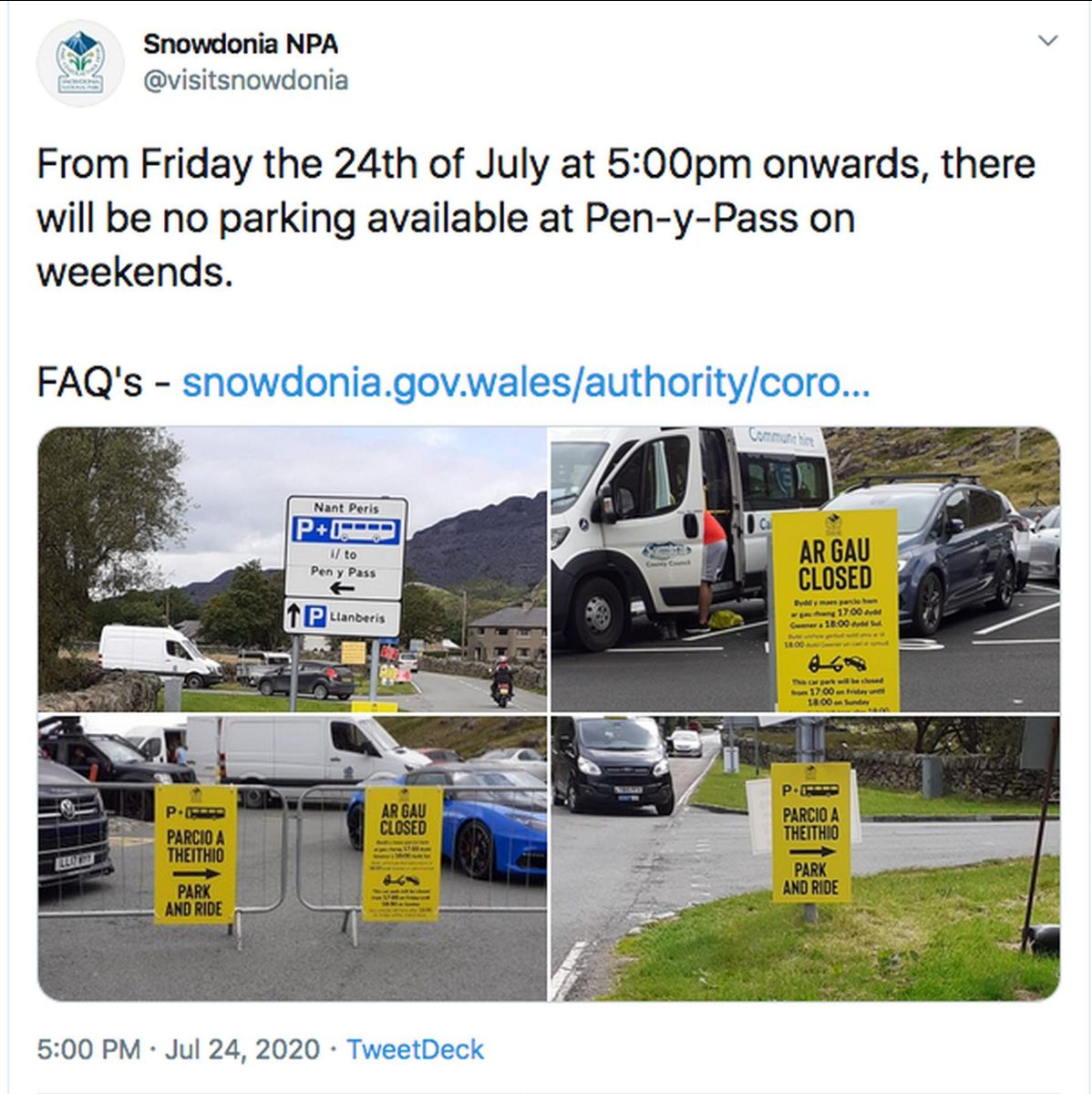 Snowdonia National Park Authority wants visitors to use a park & ride service where possible