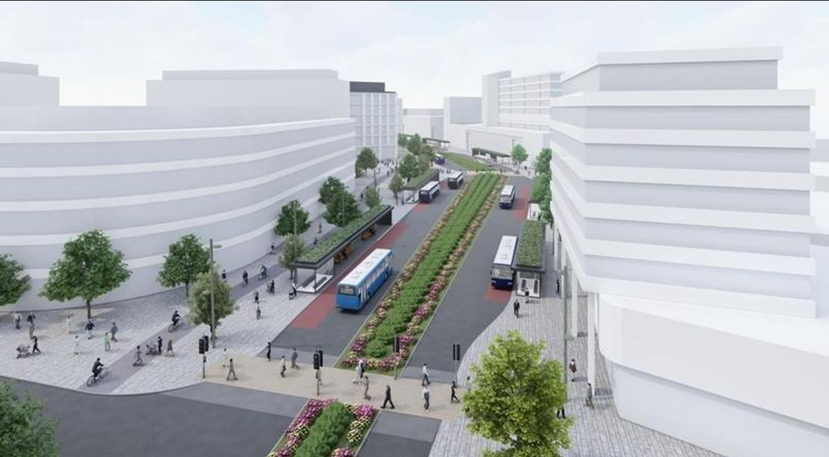 Swindon Borough Council will use £25m from Future High Street fund to turn a dual carriageway road between the rail station and town centre into a 'bus boulevard'