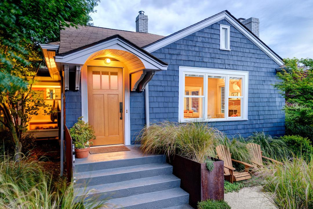 Exterior of a blue house