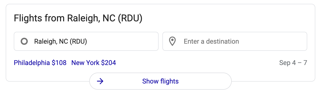 Top flights from RDU