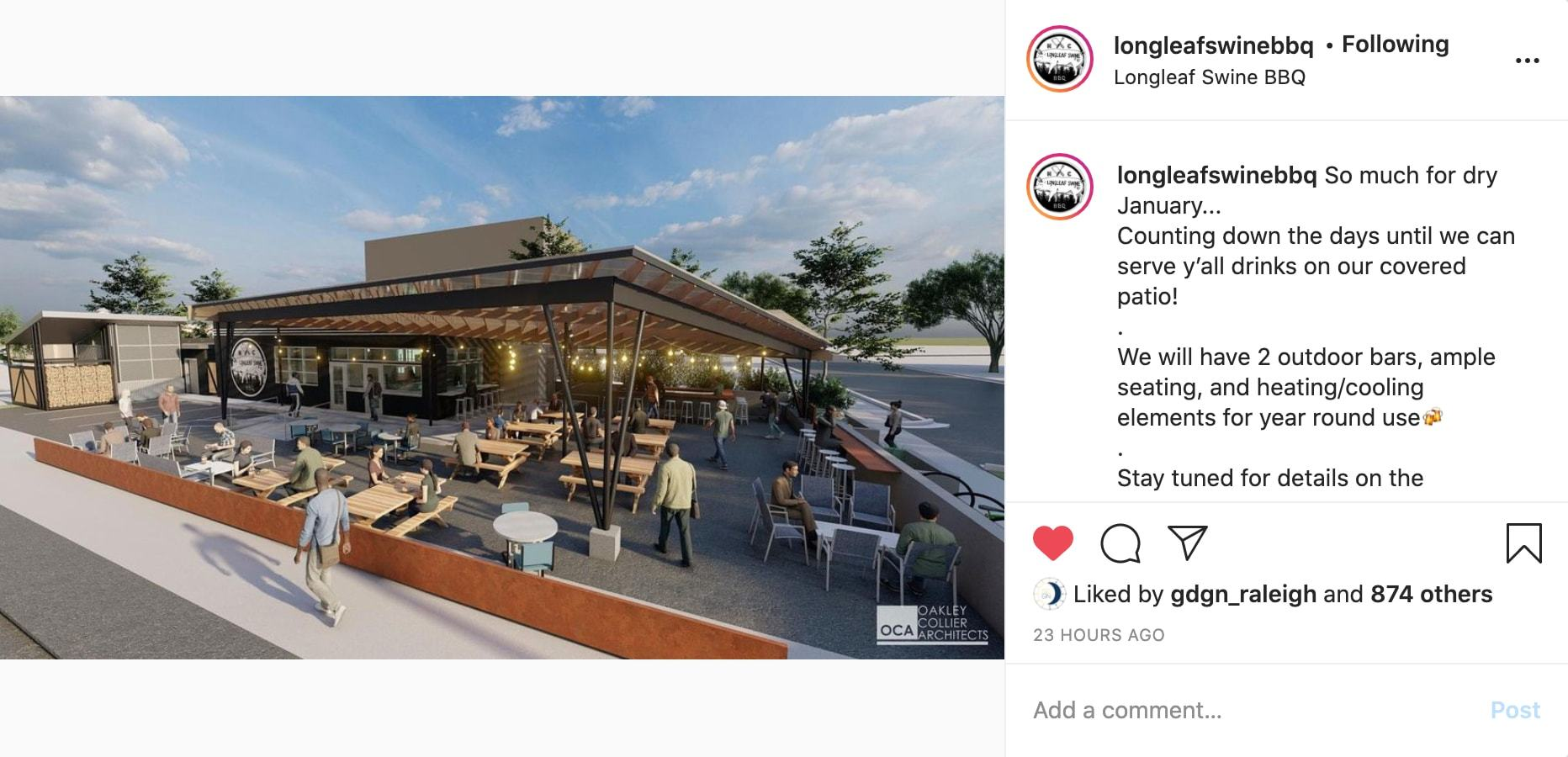 Longleaf Swine BBQ rendering