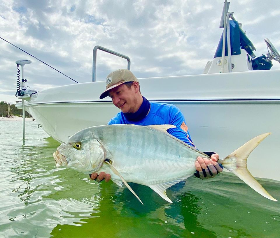 Charles takes out catch of the month with this Golden trevally on fly