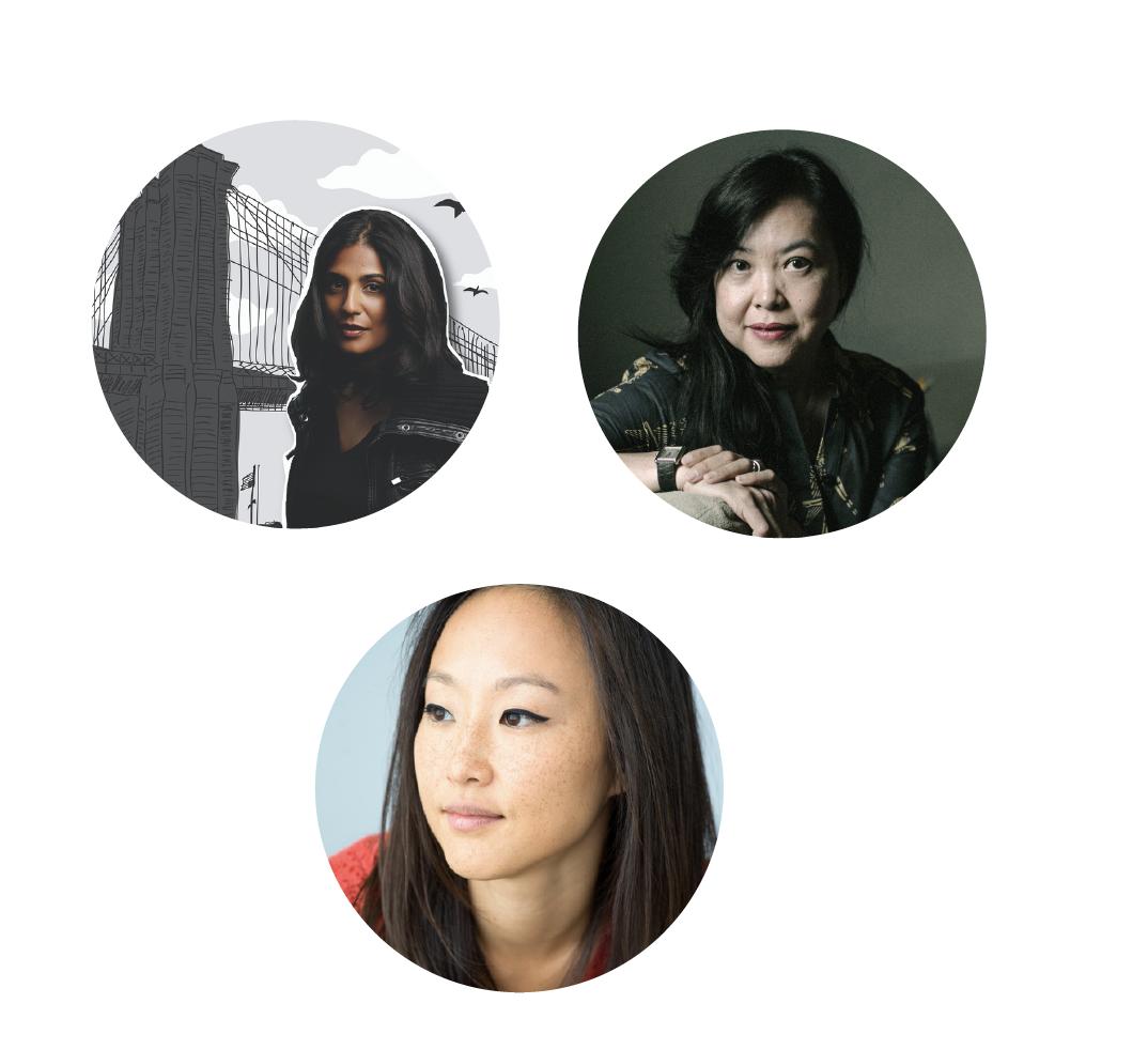 Images of Mira Jacob, Monique Truong, Crystal Hana Kim