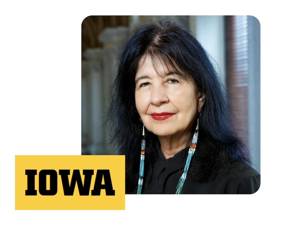 Joy Harjo headshot next to the University of Iowa logo