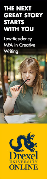 """Drexel University Online advertisement reading: """"THE NEXT GREAT STORY STARTS WITH YOU Low-Residency MFA in Creative Writing"""" Below the text is a female student looking at a page while thinking and biting on a pen. Drexel UNIVERSITY ONLINE logo with dragon at the bottom."""