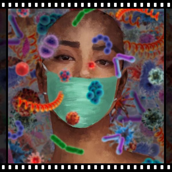 image of young woman wearing a mask with virus and bacteria