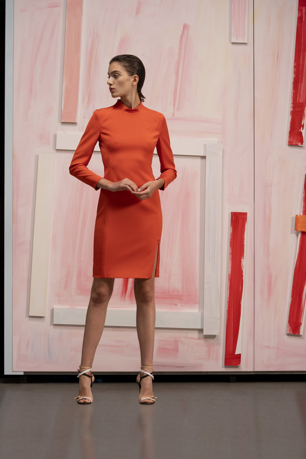 Orange fitted sheath dress
