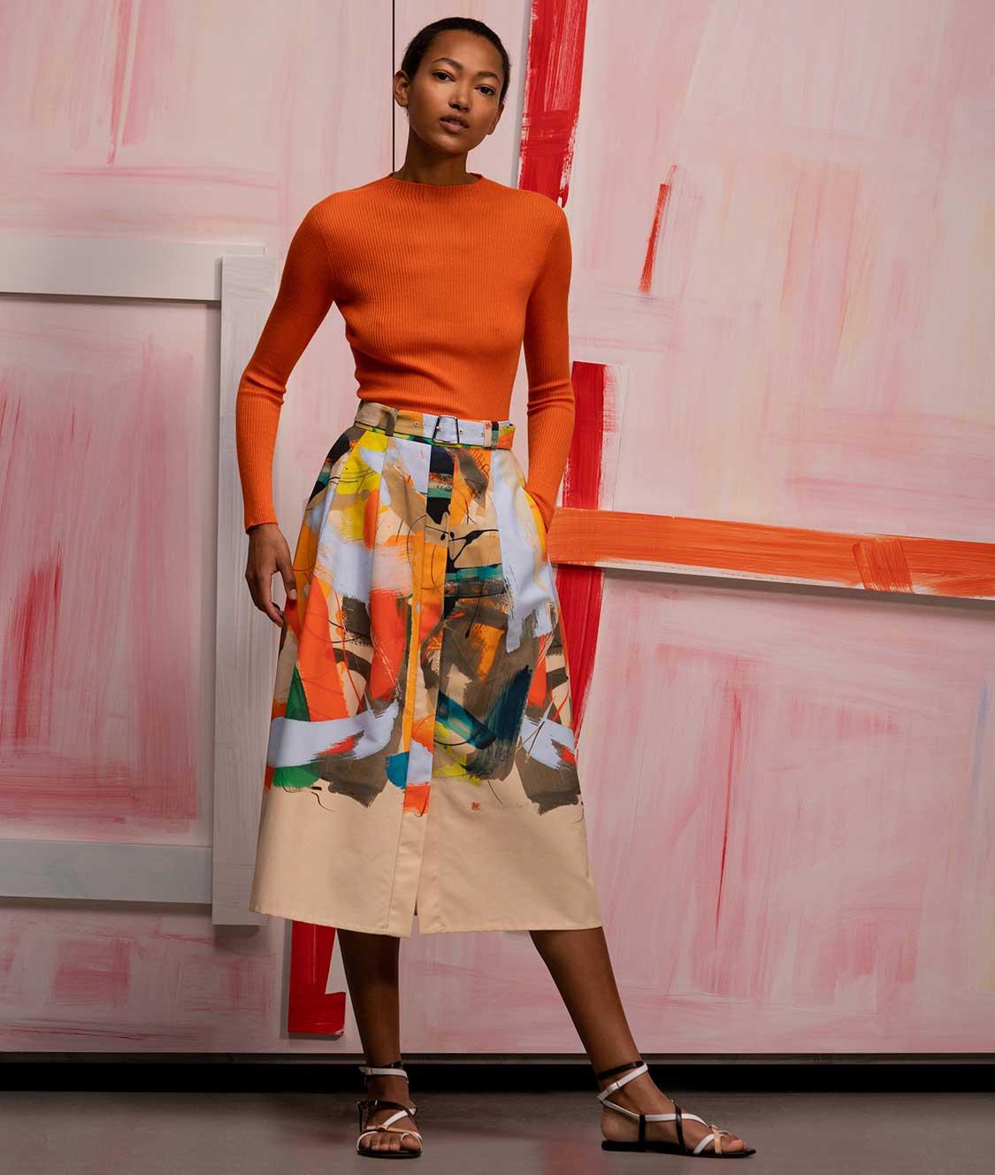 Orange Luxury top and printed Skirt under the knee