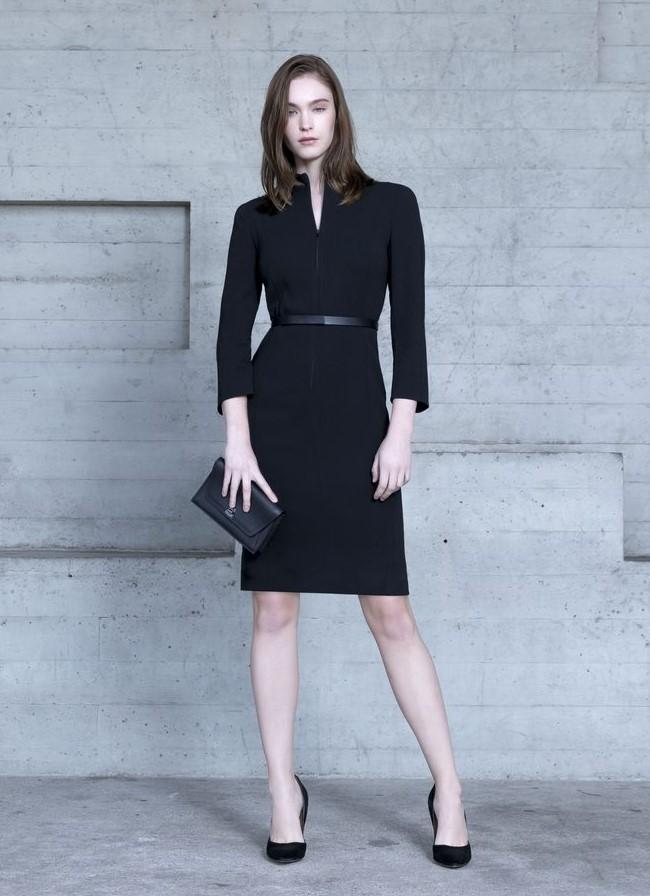 Designer Business Dress in Black with Belt