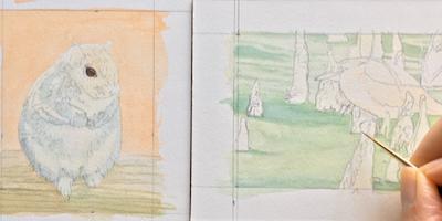 Paintings in progress by Rachelle Siegrist