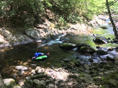 Rachelle Siegrist snorkeling in the stream